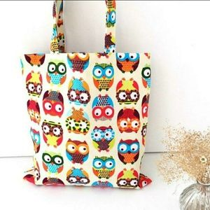 NWOT Canvas Owl Tote